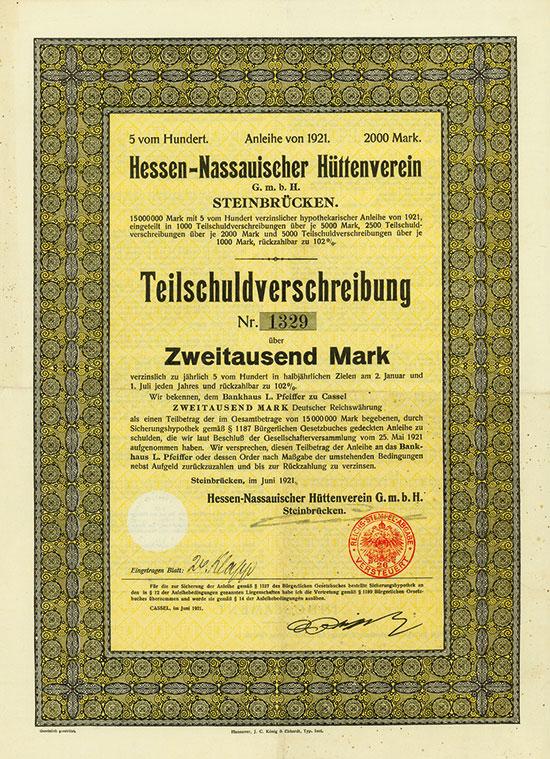 Hessen-Nassauischer Hüttenverein G.m.b.H. Steinbrücken