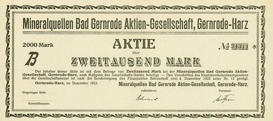 Mineralquellen Bad Gernrode AG [MULTIAUKTION 3]