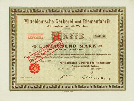 Mitteldeutsche Gerberei und Riemenfabrik AG