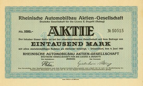 Rheinische Automobilbau AG Deutsche Gesellschaft für die Licenz E. Bugatti (Rabag)
