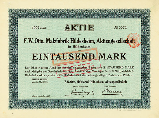 F. W. Otto, Malzfabrik Hildesheim, AG