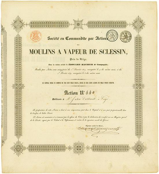 Société en Commandite par Actions des Moulins a Vapeur de Sclessin, Prés de Liége, Sous la raison sociale de Édouard Hauzeur & Compagnie