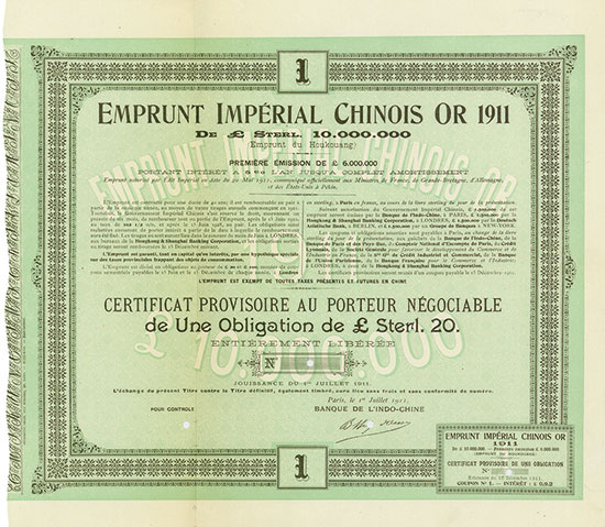 Emprunt Impérial Chinois or 1911 (Emprunt du Houkouang, Kuhlmann 228 ?)