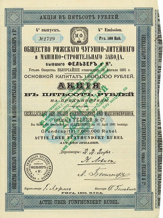 Gesellschaft der Rigaer Eisengießerei und Maschinenfabrik, vormals Felser & Co.