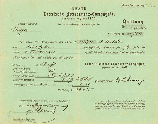 Erste Russische Assecuranz-Compagnie, gegründet im Jahre 1827