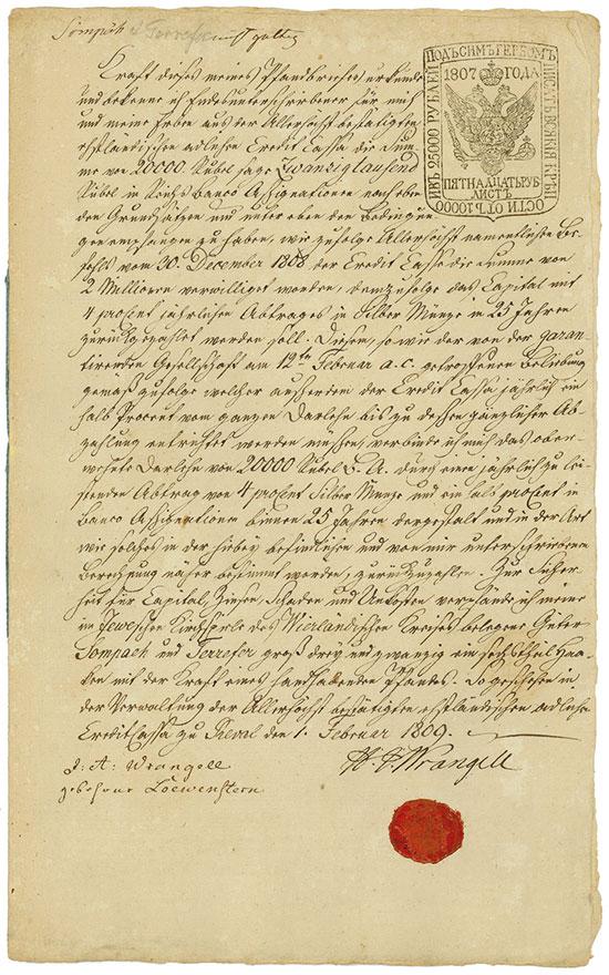 Reval: Ehstländische Adliche Credit-Casse, Heinrich Johann von Wrangell
