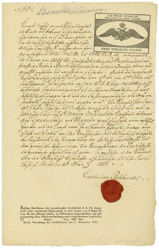 Reval: Ehstländische Adliche Credit-Casse, Gustav von Rehbinder