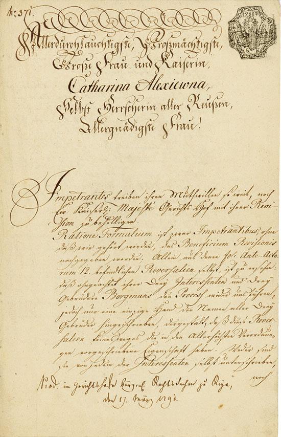 Riga: Katharina I. Alexejewna, Gotthard von Vegesack