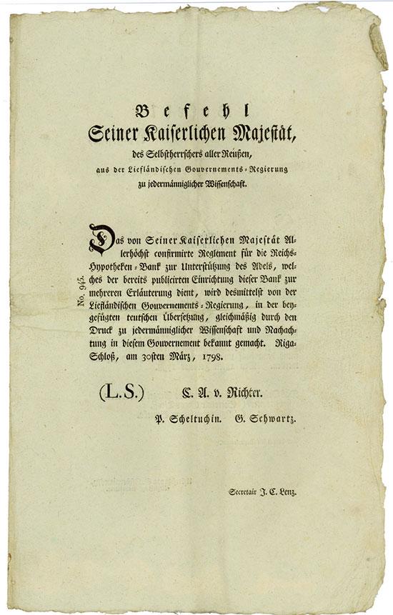 Riga: Befehl des Kaisers für das Gouvernement Livland - Reichs-Hypothekenbank zur Unterstützung des Adels