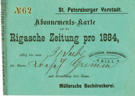 Rigasche Zeitung pro 1884