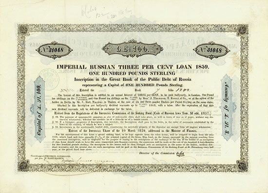 Imperial Russian 3 % Loan of 1859