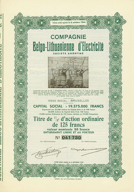 Compagnie Belgo-Lithuanienne d'Electricité Société Anonyme