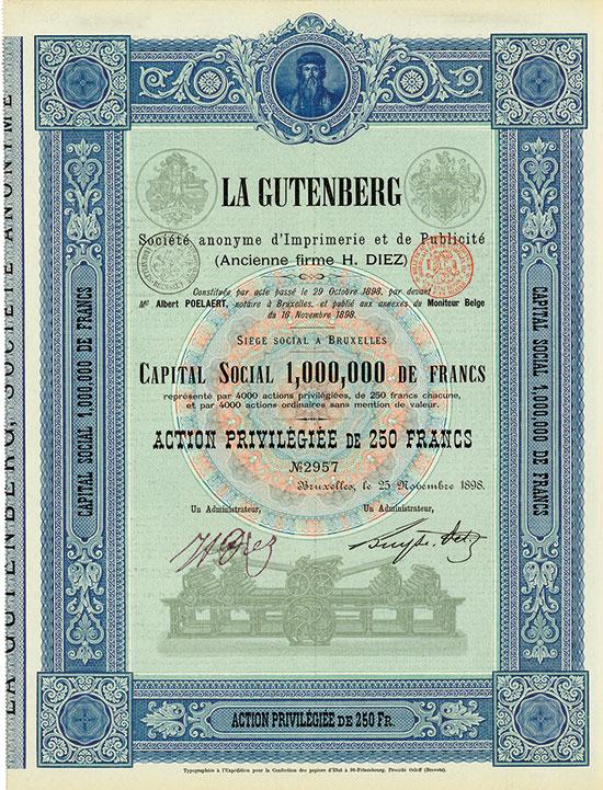 La Gutenberg Société anonyme d'Imprimerie et de Publicité (Ancienne firme H. Diez)