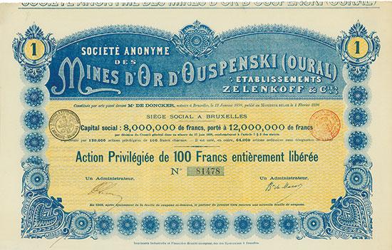 Société Anonyme des Mines d'Or d'Ouspenski (Oural) Etablissements Zlenkoff & Cie.