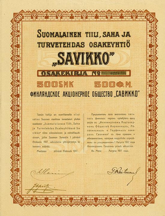 Suomalainen Tiili, Saha Ja Turvetehdas Osakeyhtiö