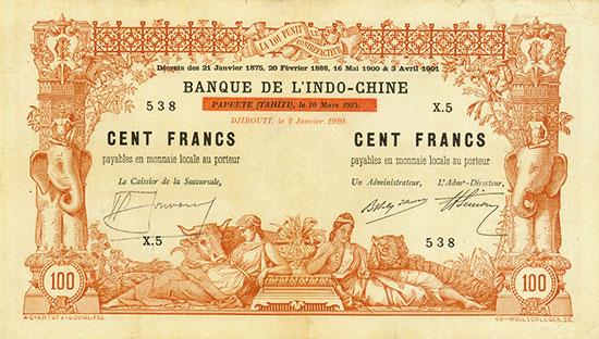 Djibouti - Banque de l'Indo-Chine - Pick 4a