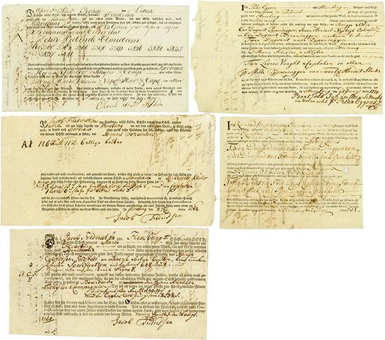 Frachtbriefe 18. Jahrhundert [5 Stück]