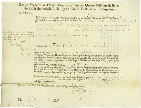 Rente Viagére - Edit du mois de Juillet 1723
