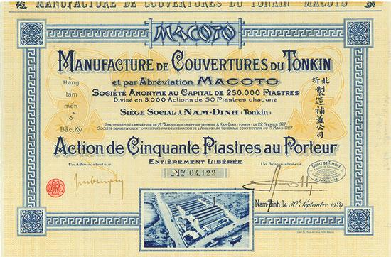 Manufacture de Couvertures du Tonkin et par Abréviation MACOTO