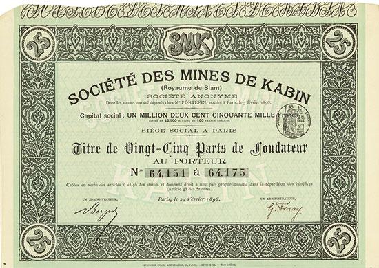 Société des Mines de Kabin (Royaume de Siam)
