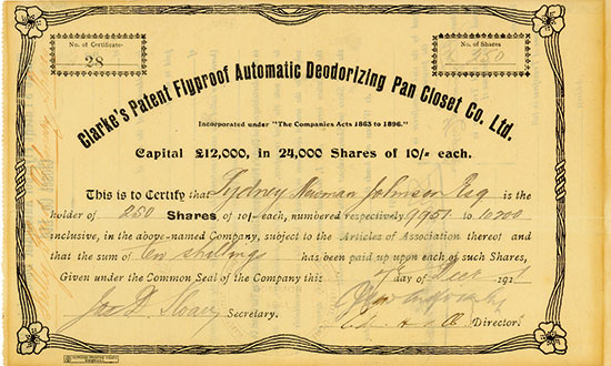 Clarke's Patent Flyproof Automatic Deodorizing Pan Closet Co. Ltd.