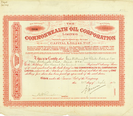 Commonwealth Oil Corporation Limited [2 Stück]
