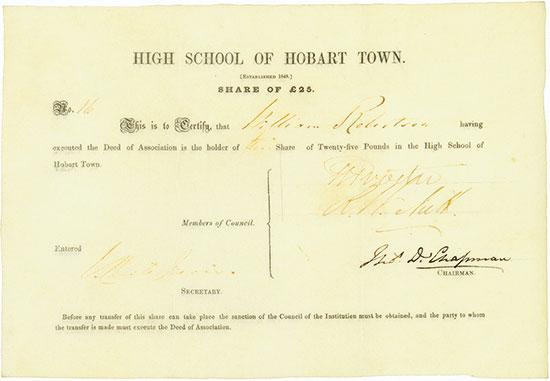 High School of Hobart Town
