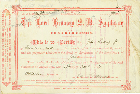 Lord Brassey S. M. Syndicate