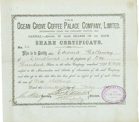 Ocean Grove Coffee Palace Company, Limited