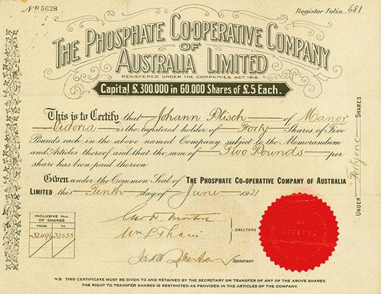 Phosphatre Cooperative Company of Australia Limited