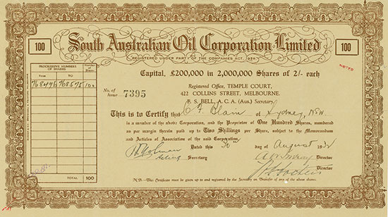 South Australian Oil Corporation Limited