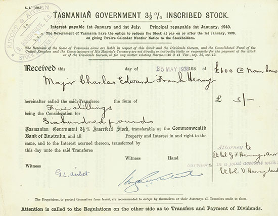Tasmanian Government 3,5 % Inscribed Stock