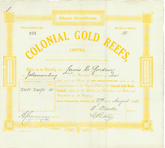 Colonial Gold Reefs, Limited