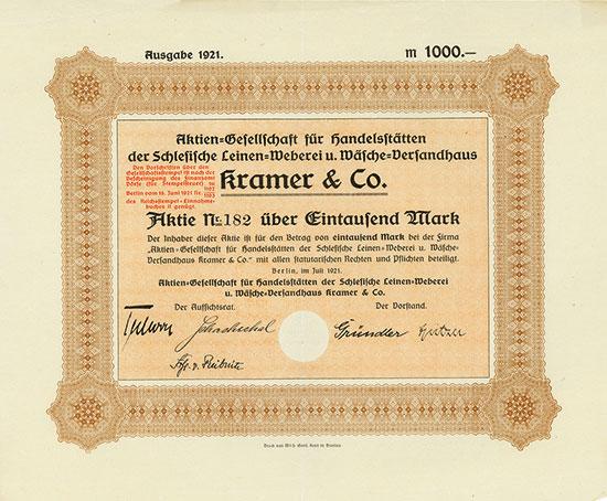 Aktien-Gesellschaft für Handelsstätten der Schlesische Leinen-Weberei u. Wäsche-Versandhaus Kramer & Co.