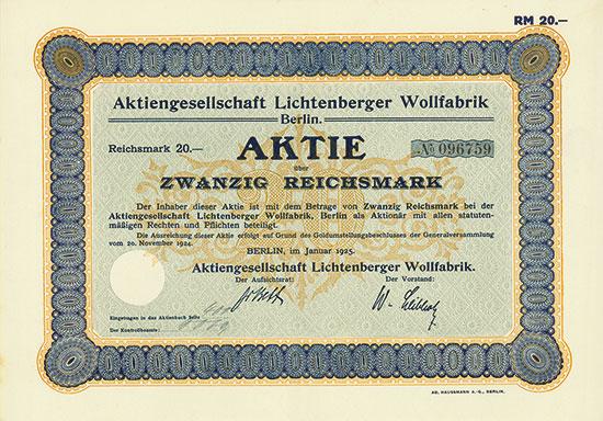 Aktiengesellschaft Lichtenberger Wollfabrik