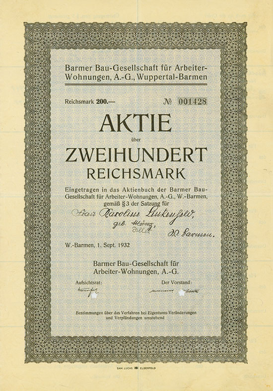 Barmer Bau-Gesellschaft für Arbeiter-Wohnungen A.-G.