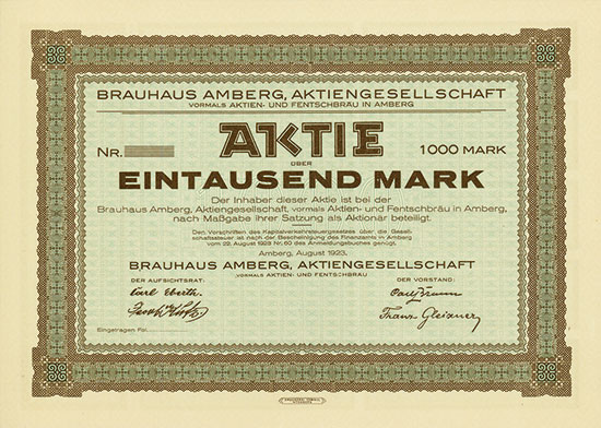 Brauhaus Amberg AG vormals Aktien- und Fentschbräu