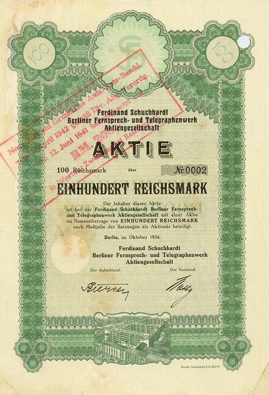 Ferdinand Schuchhardt Berliner Fernsprech-und Telegraphenwerk AG