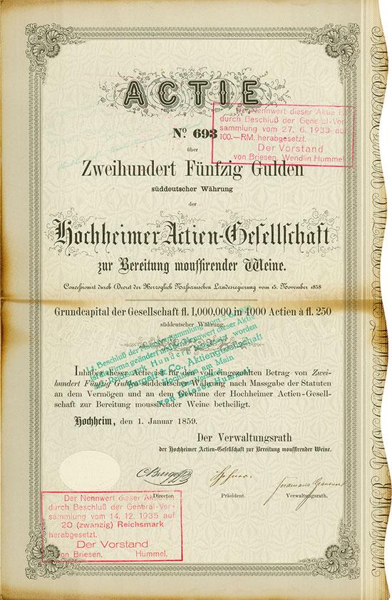 Hochheimer Actien-Gesellschaft zur Bereitung moussierender Weine