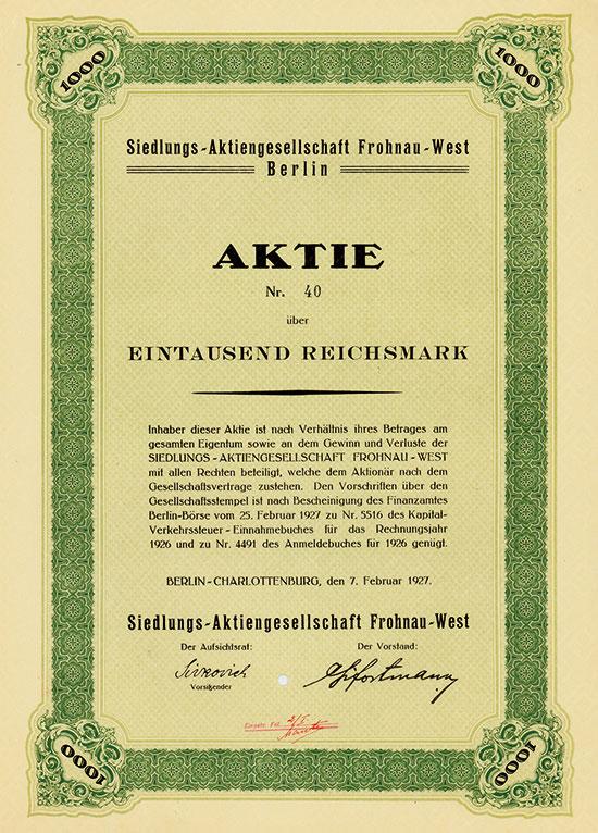 Siedlungs-Aktiengesellschaft Frohnau-West