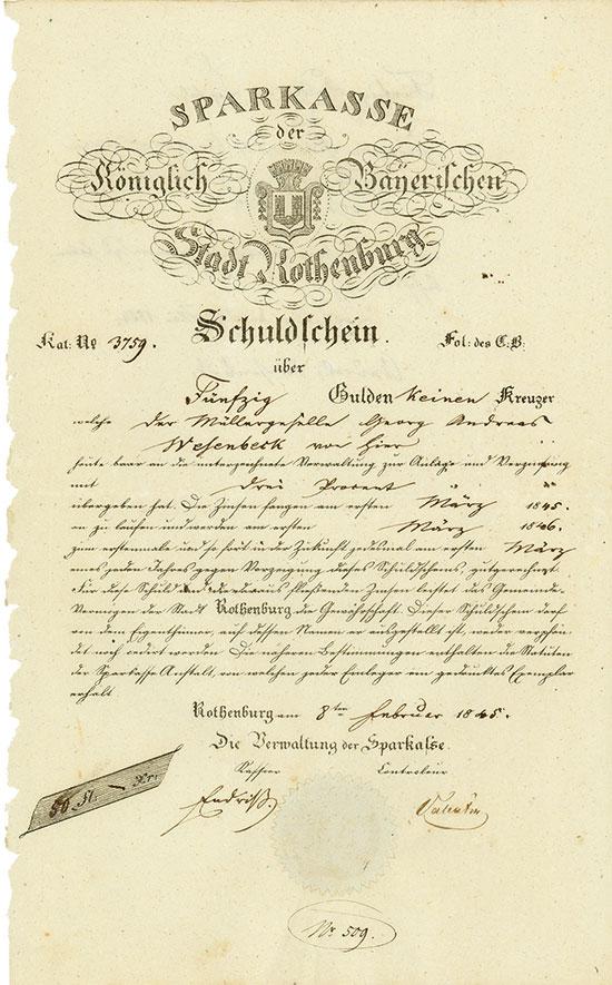Sparkasse der Königlich Bayerischen Stadt Rothenburg