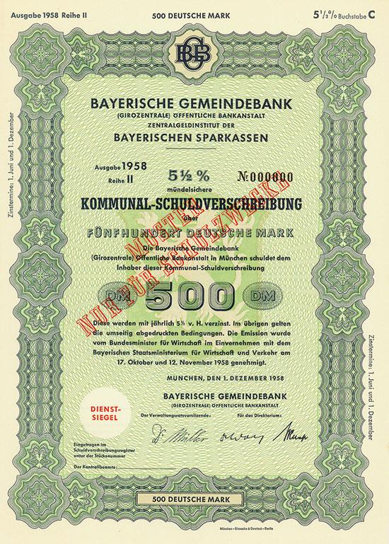 Bayerische Gemeindebank (Girozentrale) Öffentliche Bankanstalt Zentralinstitut der Bayerischen Sparkassen [4 Stück]