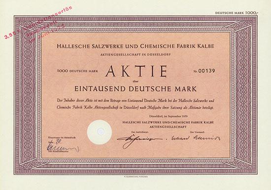 Hallesche Salzwerke und Chemische Fabrik Kalbe AG [2 Stück]