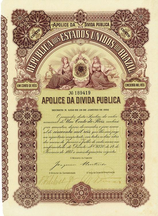 Republica dos Estados Unidos do Brazil - Apolice da Divida Publica