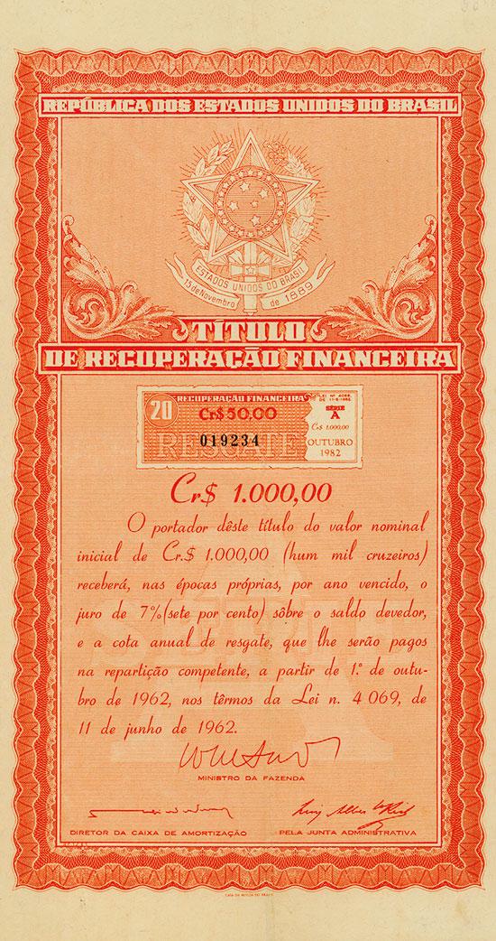 Republica dos Estados Unidos do Brazil - Titulo de Recuperação Financeira