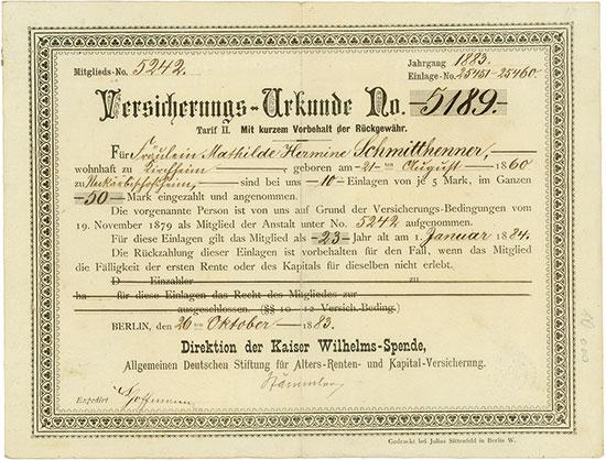 Kaiser Wilhelms-Spende, Allgemeine Deutsche Stiftung für Alters-Renten- und Kapital-Versicherung