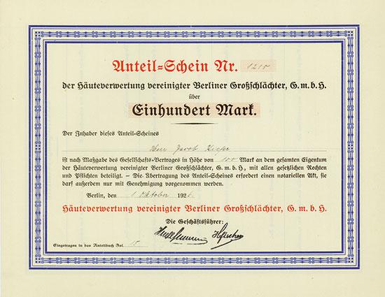 Häuteverwertung vereinigter Berliner Großschlächter GmbH [5 Stück]