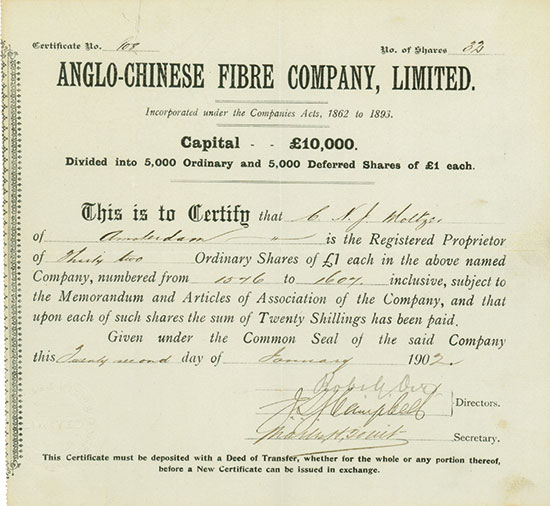 Anglo-Chinese Fibre Company, Limited