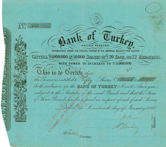 Bank of Turkey, (Société Anonyme)