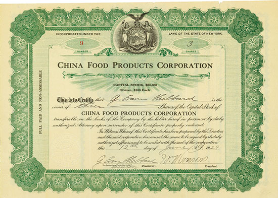 China Food Products Corporation